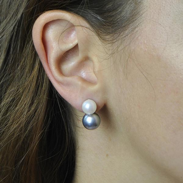 boucles d'oreille double perle