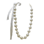 Collier mi-long 1865 Perles Champagne & ruban satin ivoire