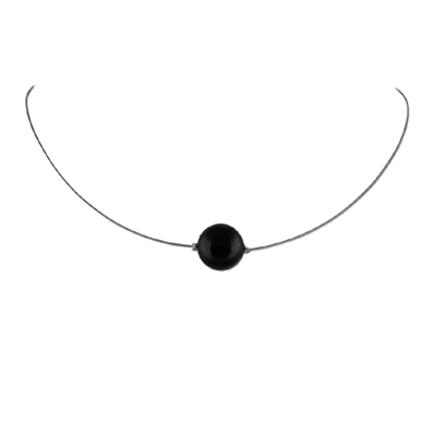 Collier de perle simple solitaire Margot laquée noire 12 mm