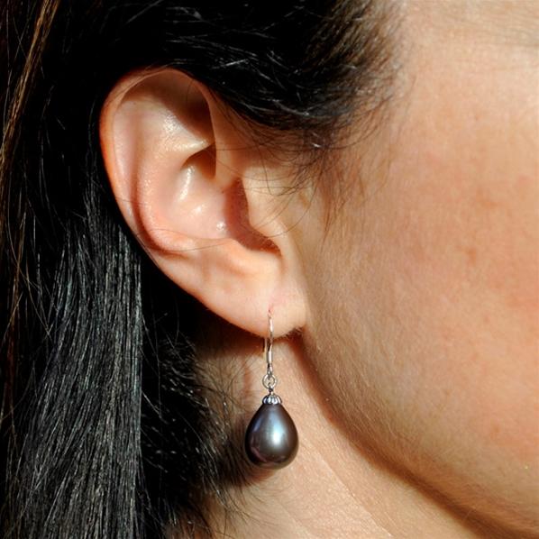 boucle oreille perle noire