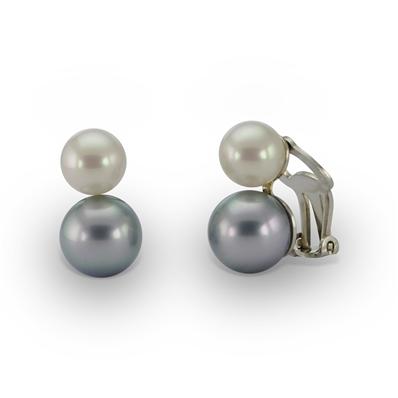 74404c1e7c0 Boucles d oreilles clips double perle blanche et grise