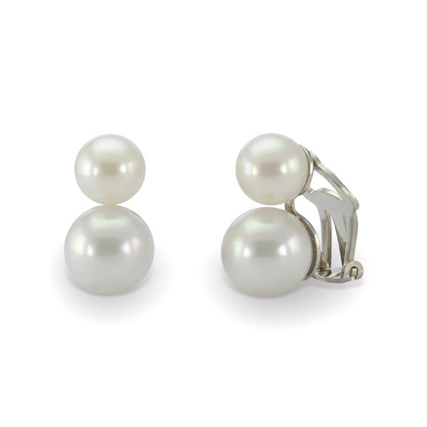 boucle d 39 oreille clip double perle blanches simon simon. Black Bedroom Furniture Sets. Home Design Ideas