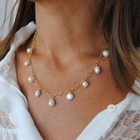 Collier Chaîne Perle Blanches Moderne