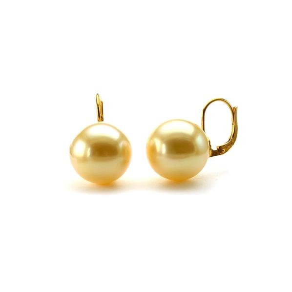 boucles d 39 oreilles dormeuses perles dor es 8mm plaqu or. Black Bedroom Furniture Sets. Home Design Ideas