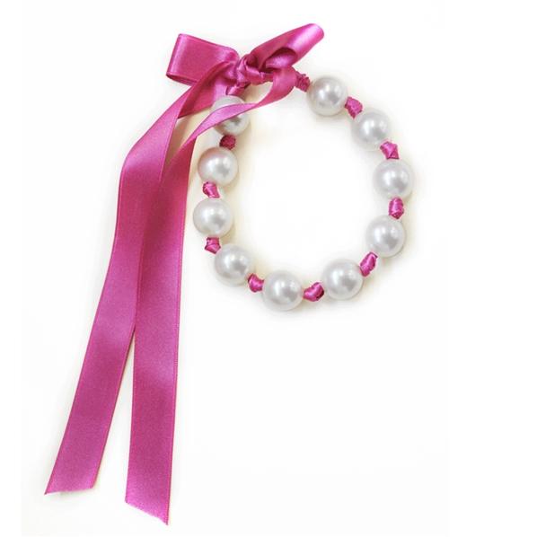 Bracelet original en grosses perles blanches et ruban - Bracelet perle et ruban ...