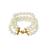 Bracelet 3 rangs perles blanches Jackie 8 mm