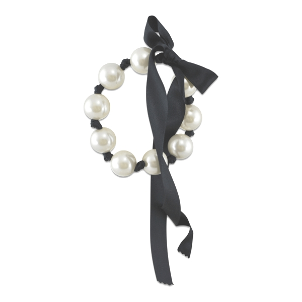 Bracelet de perle blanche souple 18mm insolite 19cm simon simon - Bracelet perle et ruban ...