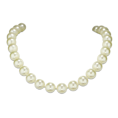 Collier Angelina Perles 12 mm blanches, fermoir argenté