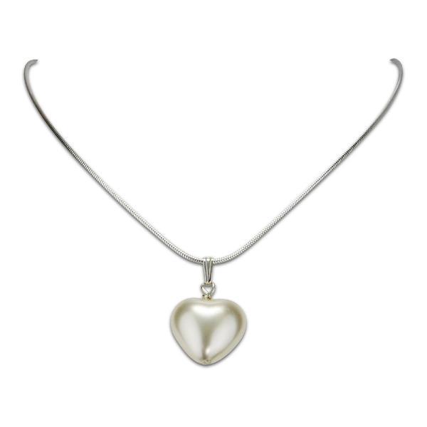 collier coeur saint valentin 45cm perle blanche simon simon. Black Bedroom Furniture Sets. Home Design Ideas