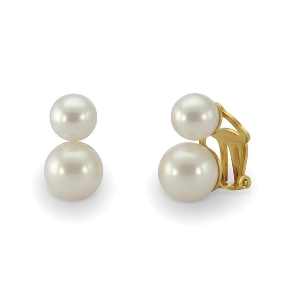 boucle d 39 oreille clip double perle blanche. Black Bedroom Furniture Sets. Home Design Ideas