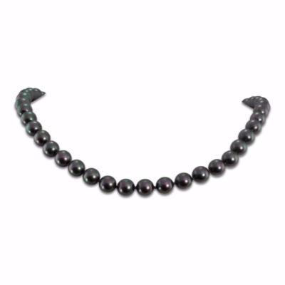 Collier Perles 8 Mm Rondes Nacrees Noires