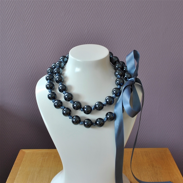 Collier Original En Grosses Perles Noires Miroir