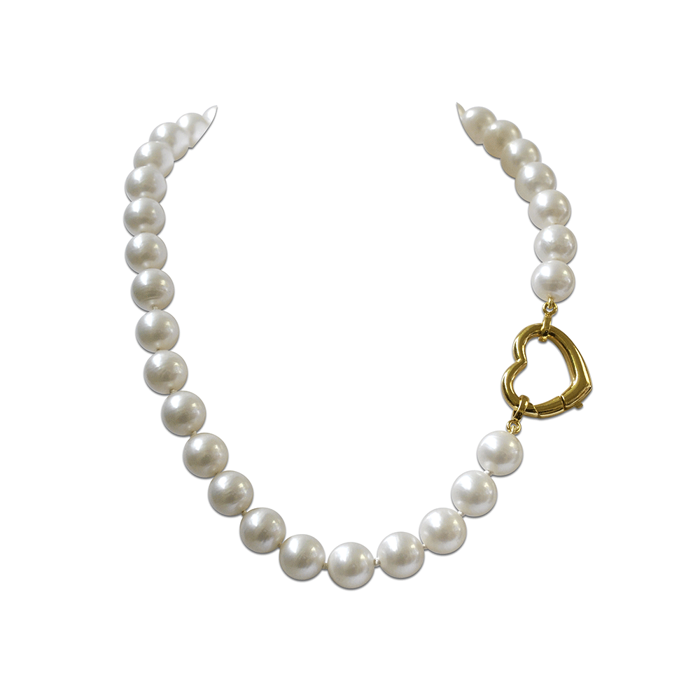 Collier Angelina Perles 12 mm striées blanches Malory, fermoir coeur doré