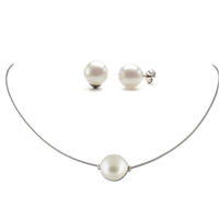 Parure Collier & Boucles perles blanches 12 mm Margot