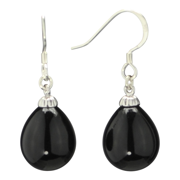 boucle d 39 oreille pendante fantaisie argent et perle noire. Black Bedroom Furniture Sets. Home Design Ideas
