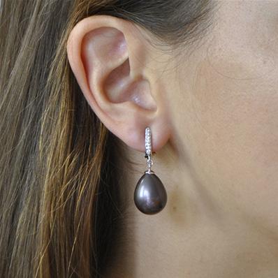 96e9a84f313 Clips pendants oxydes et perle goutte noire