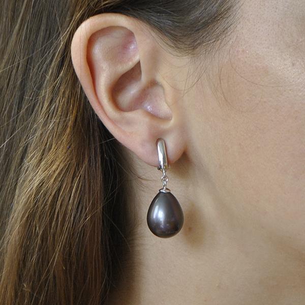 boucle d'oreille clip femme perle