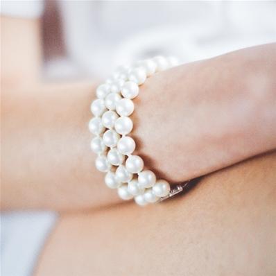 bracelet perle manchette 3 rangs femme